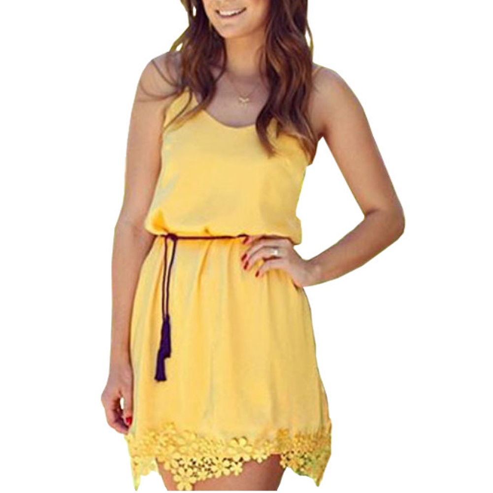 Buy Cheap Yellow Summer Women Tropical Dress Strap Lace Sleeveless Mini Slim Casual Dresses