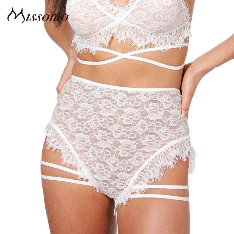 Missomo Sexy Blanc/Noir Culotte En Dentelle Femmes Maille Semi Sheer Lace Up Évider High Rise Briefs Femme Doux sous-vêtements Dame