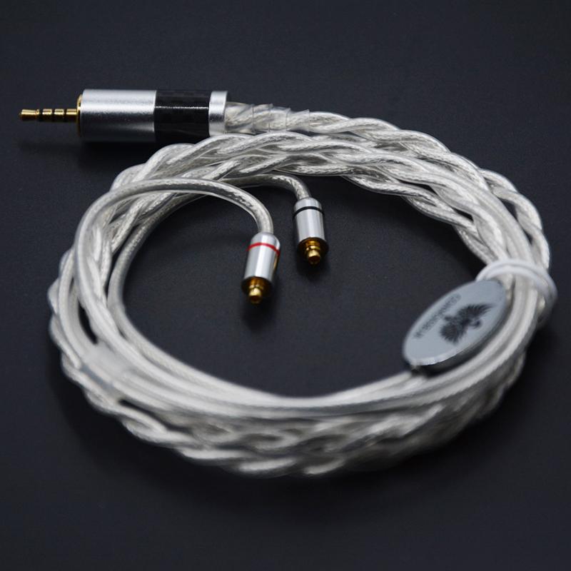 Prix pour NICEHCK MMCX Câble 2.5mm Équilibrée 7N Unique Cristal De Cuivre Plaqué Argent Câble 4-Pole Jack Plug Pour Astell & Kerns ONKYO OPUS DAP