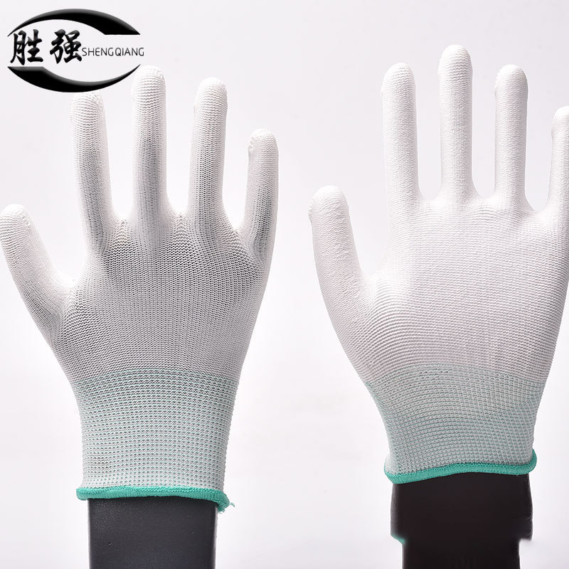 New Arrival 1pair Antistatic White Nylon PU Palm Coated Safety Gloves Breathable Antiskid ESD Builders Household Electrician Job 1pair antistatic gloves anti static esd electronic working gloves pu coated palm coated finger pc antiskid for finger protection
