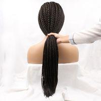 26 pulgadas caja ninguno lace wig con babyhair natural negro afro trenzado trenza de pelo sintético para las mujeres negras