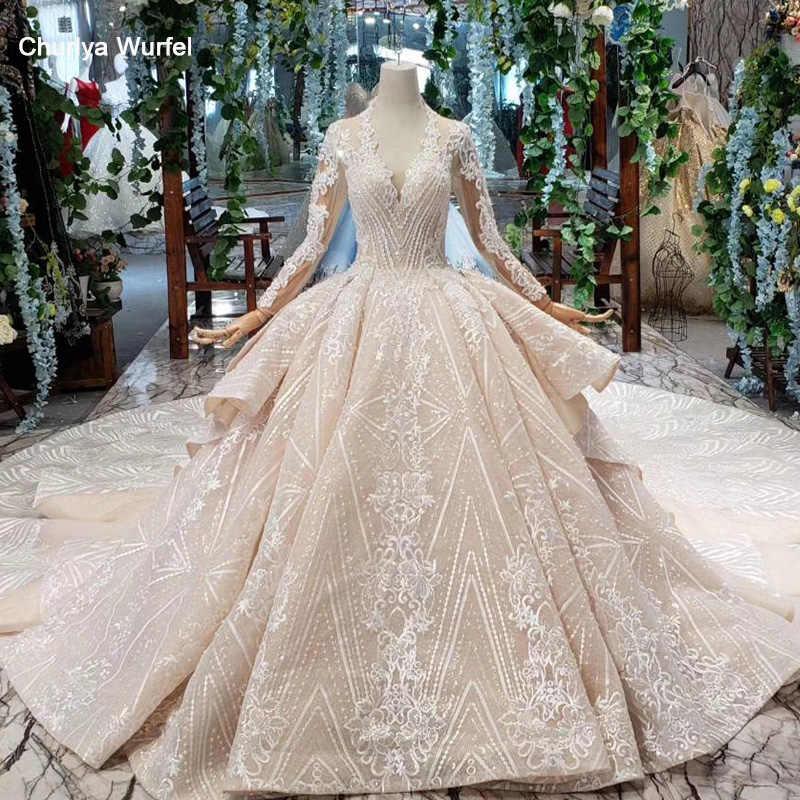 HTL433 ארוך שרוולי תחרת שמלות כלה עם רכבת v-צוואר גב פתוח נפוחה לפרוע חתונת שמלות עבודת יד כבדה robe דה mariee
