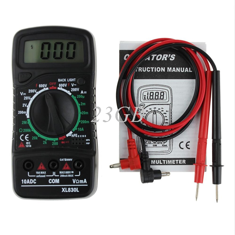 Volt Strom Tester Digital LCD Multimeter XL-830L Voltmeter Amperemeter J24