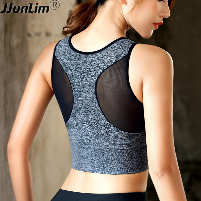 Sports Bra Women Mesh Fitness Top Bra Shakeproof Padded Yoga Bra Workout Gym Bra Top Seamless Push Up Running Tank TOP Yoga Vest