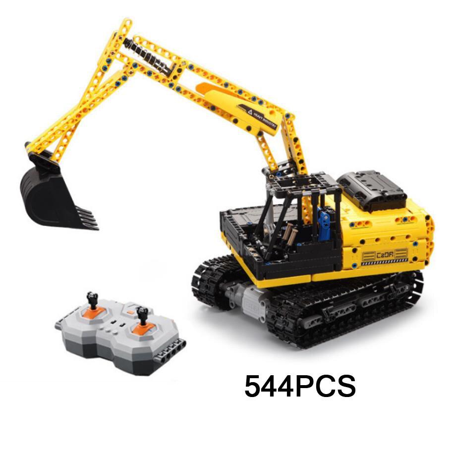 Quente da cidade de tijolos de bloco de construção de controle remoto de rádio do veículo de Engenharia escavadeira Caterpillar 2.4 Ghz rc brinquedos coleção para meninos