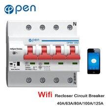 цена на OPEN Wifi Circuit Breaker 63A 4P MCB Remote Control Timing Switch Delay Set Function Automatic Lock Intelligent