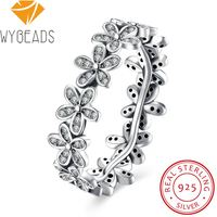 925 Sterling Silver Rings Finger Flower Leaves Clear Cubic Zircon For Women Ring Wedding Party Birthday