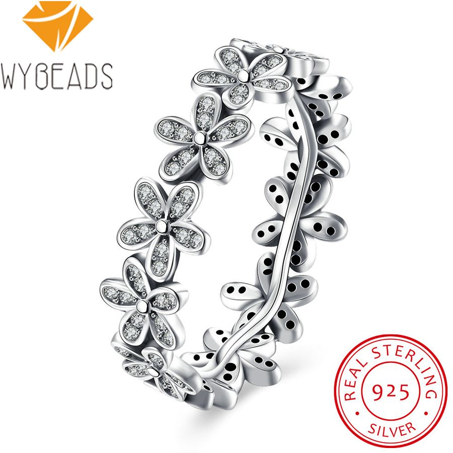 WYBEADS 100% 925 Sterling Silver Dazzling Daisy Meadow Rings With Cubic Zirconia For Women Ring Finger Original Jewelry Making