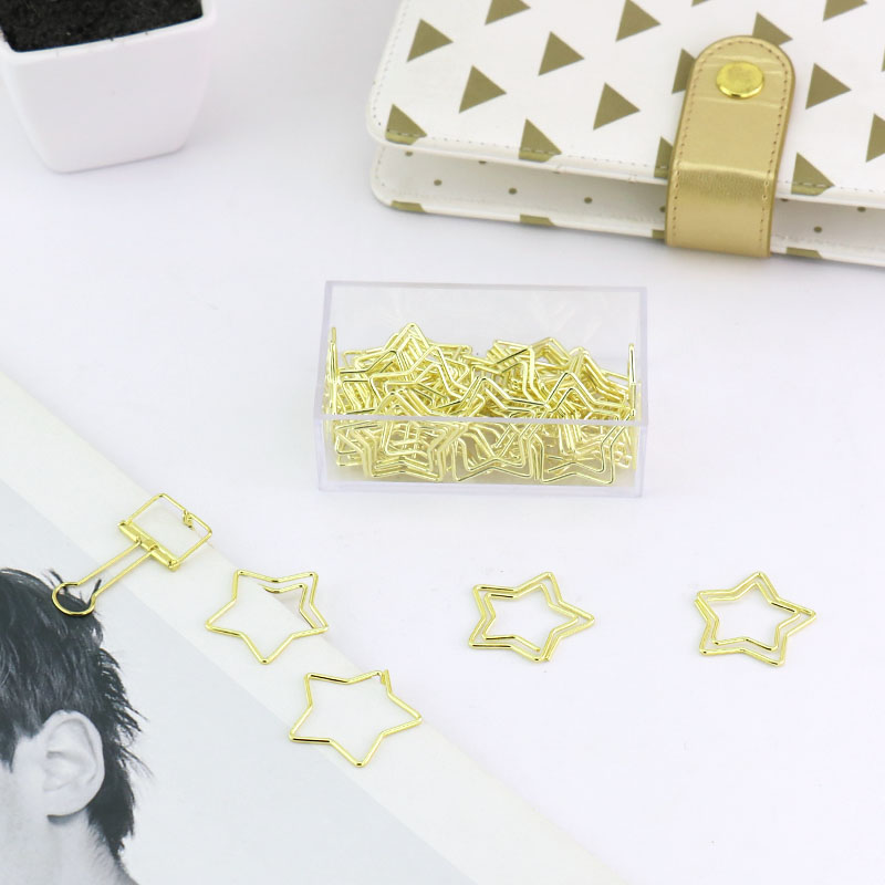 TUTU 30pcs/box New Candy Star Design Metal Office School Paper Clips Stationery Fine Cute Student Notebook Index Bookmark H0241