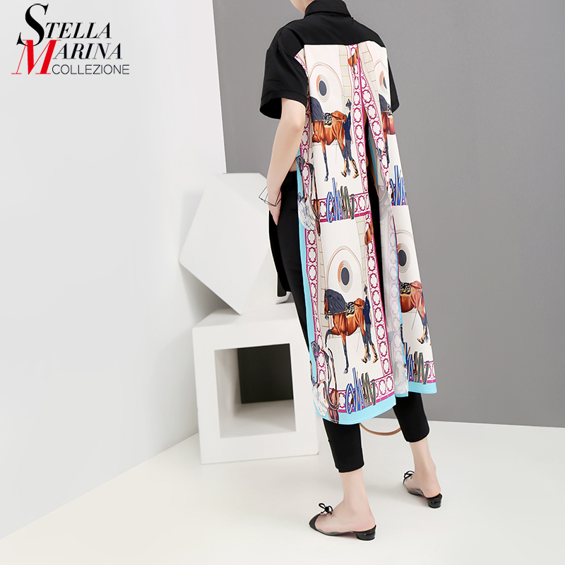 2019 Korean Style Women Summer Black Long   Blouse     Shirt   Long Back Printed Lady Casual   Blouses   Feminine   Shirt   chemise femme 5222