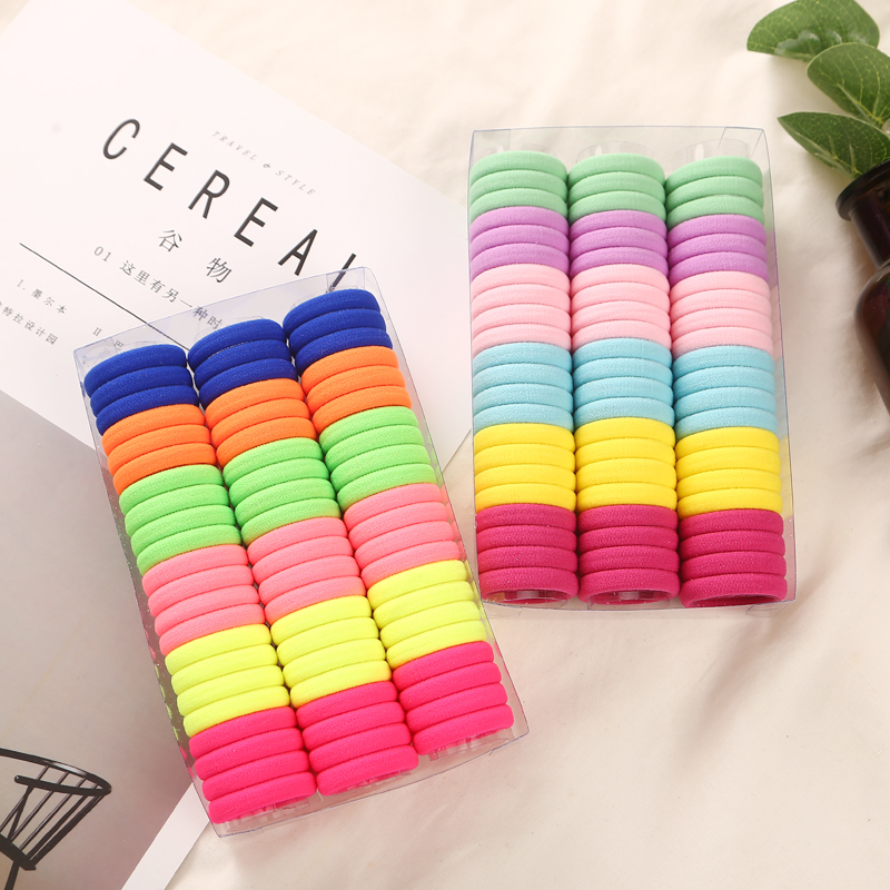 3cm 66pcs/Box 50pcs/Bag   Headwear   Hair Accessories Rubber Rope Elastic Hair Bands For Girls Kids Children Baby Charms Tie Gum