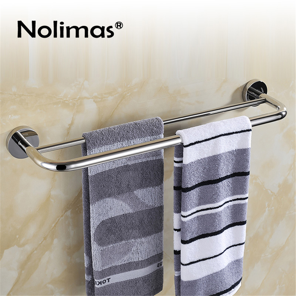 New Arrival SUS 304 stainless steel double towel bar square towel rack in the bathroom wall mounted towel holder 304 stainless steel bathroom towel rack bar hangers more
