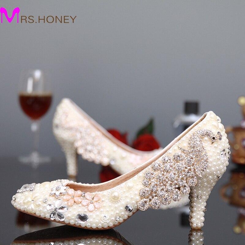 ФОТО Fashion White Pearl Kitten Heels Bridal Wedding Dress Shoes Rhinestone Round Toe Stiletto Heel Lady Shoes Woman Party Pumps