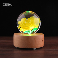 XINTOU Crystal Glass Eternal Yellow Rose Flower Ball 80 mm Home Decoration Wooden Bluetooth Speaker Wedding Valentine's Day Gift