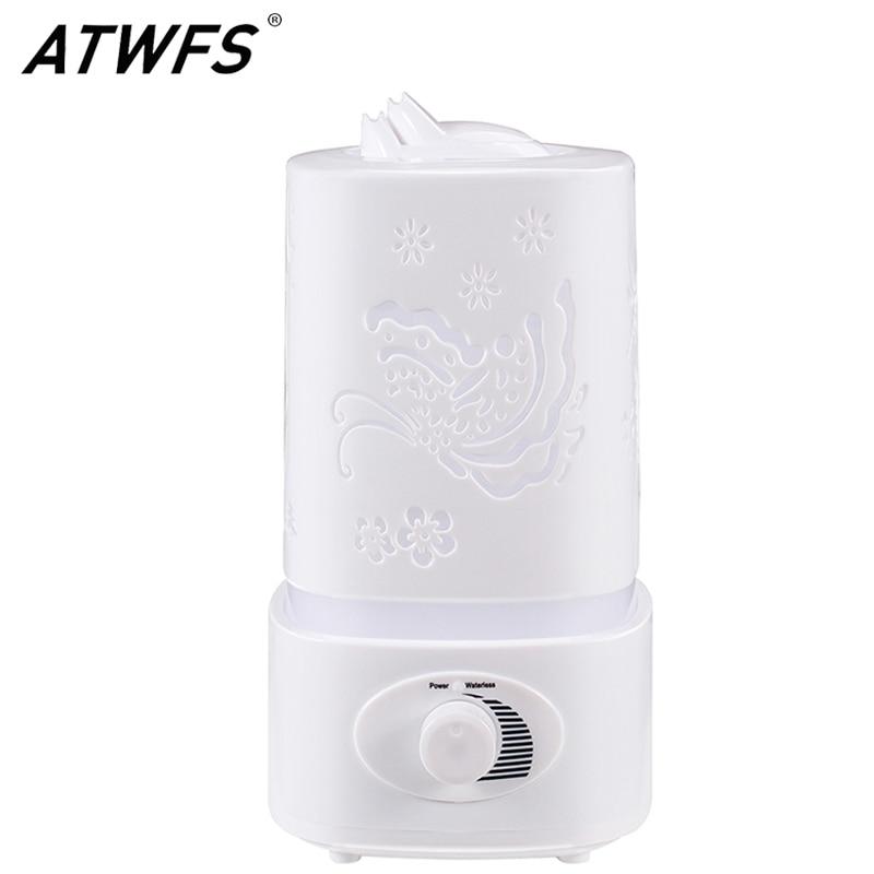 ATWFS Aromatherapie Luftbefeuchter Nebelmaschine Led-nachtlicht Carve Aroma Diffuser Nebel-hersteller Diffusor für Home Office Öl Ultraschall