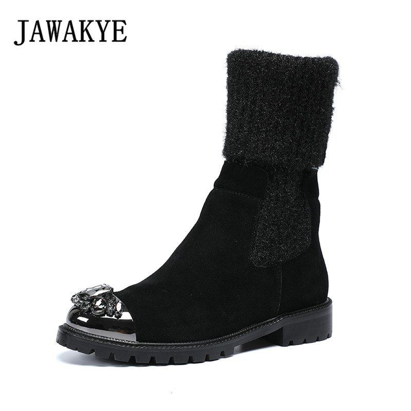 Runway crystal metal toe knitting patchwork ankle boots women platform thick bottom slip on sock boots lady winter casual bootsRunway crystal metal toe knitting patchwork ankle boots women platform thick bottom slip on sock boots lady winter casual boots