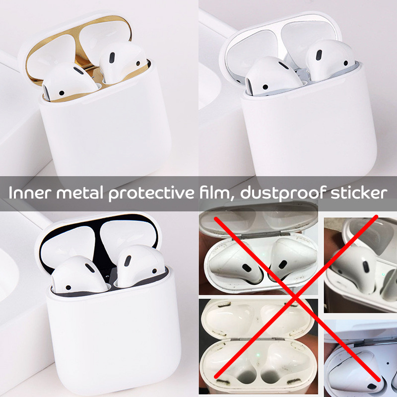 Earphone Accessories For Apple Airpods Case Protective Cover sticker Dust Guard For Airpods2 Earbud Cover Cute For TWS i12 i7s in Earphone Accessories from Consumer Electronics