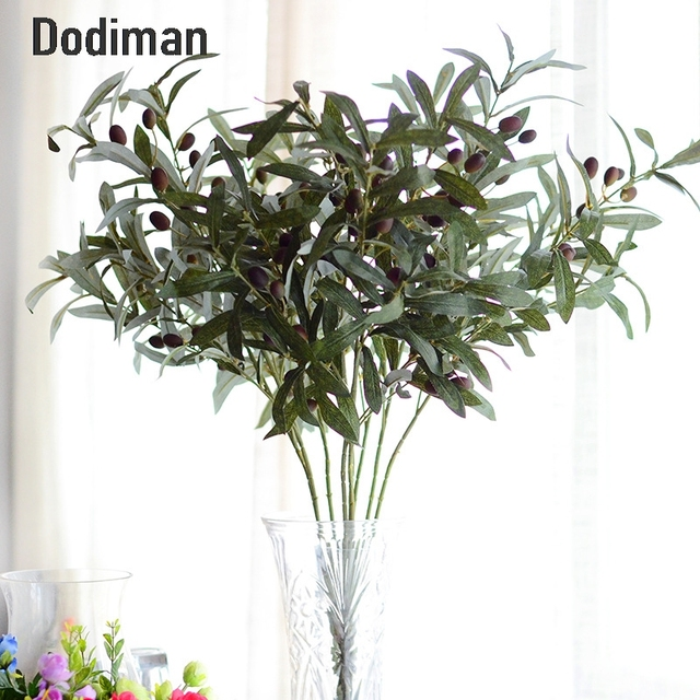 High Imitation Olive Branch Artificial Plant Leaves Living Room Flower  Decorations For Wedding Party Photography