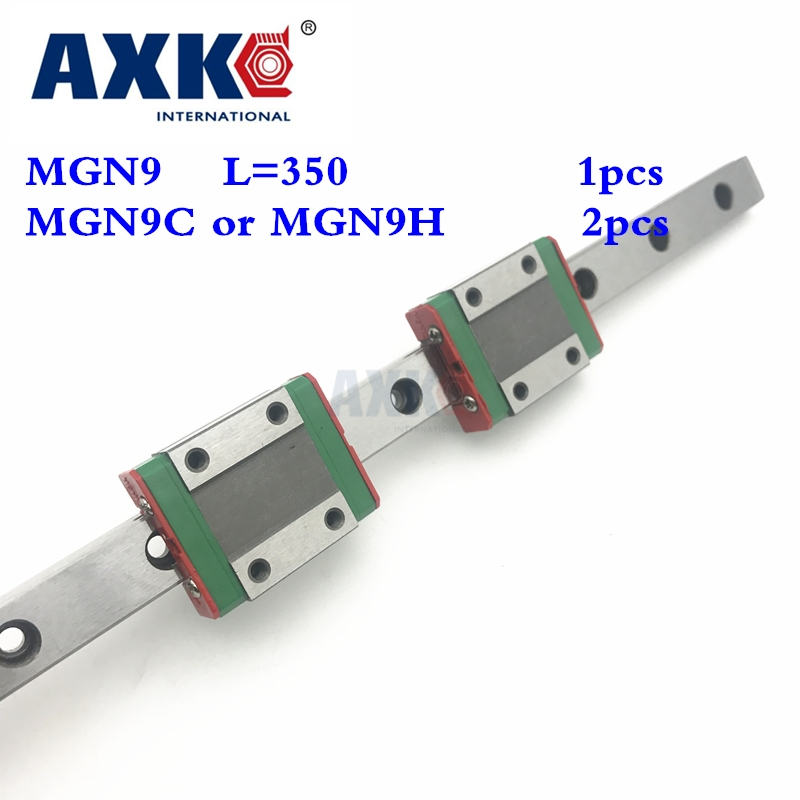 2017 Axk Linear Rail Cnc Router Parts Mgn9 9mm Miniature Linear Slide Set: 1pcs L- 350mm Rail With 2pcs Mgn9h Block Carriage free shipping for mgn9 l300mm miniature linear rail slide and mgn9c h carriage for cnc router for xyz table