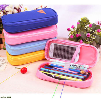 Candy Color Canvas Pencil Case Multifunction Stationery Storage Organizer Bag School Supply