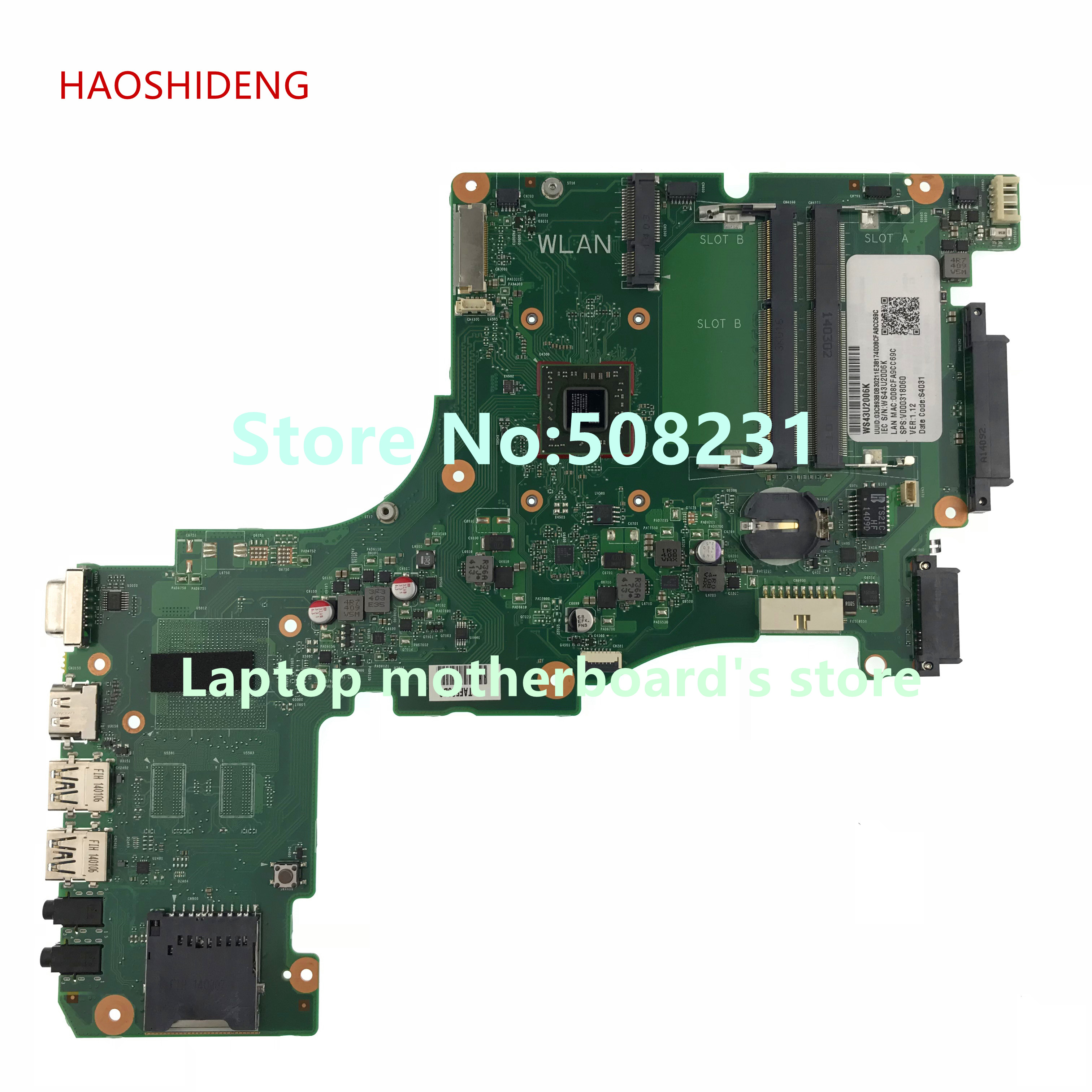 HAOSHIDENG V000318060 CR10AN-6050A2556101-MB-A02 Mainboard for Toshiba Satellite L50DT L50DT-A Laptop Motherboard with A6-5200 haoshideng v000325090 mainboard for toshiba satellite c55dt c50dt a laptop motherboard 6050a2556901 mb a03
