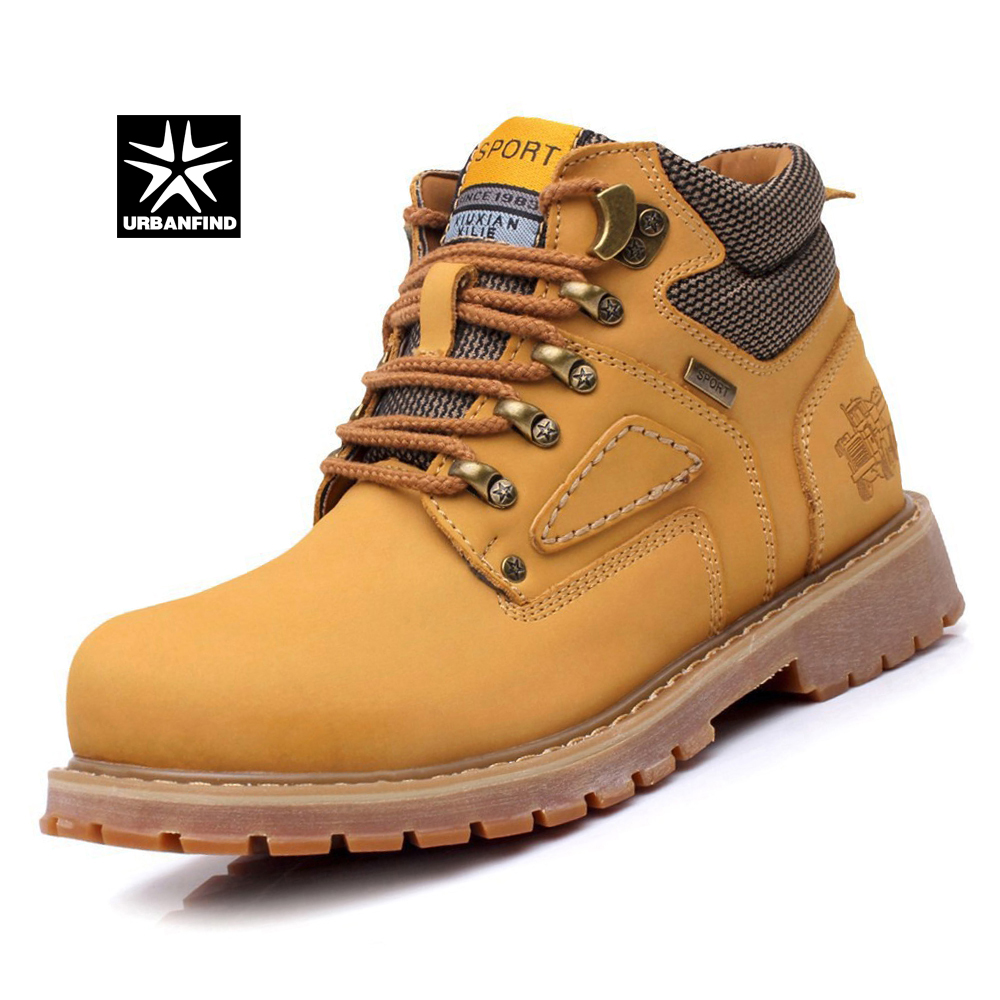 0453f55f12c US $33.29 55% OFF|URBANFIND Lace Up Men Fashion Boots EU 38 44 Durable  Rubber Sole Man Nubuck Leather Ankle Shoes Brown / Yellow-in Work & Safety  ...