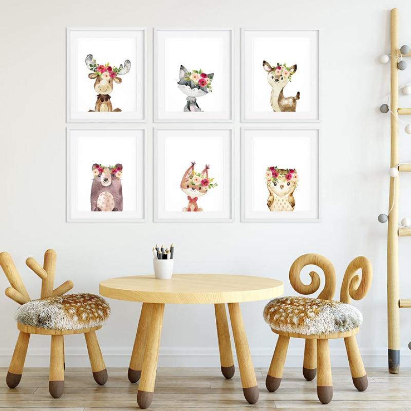 Watercolor Baby Animals Print Kids Room Decor