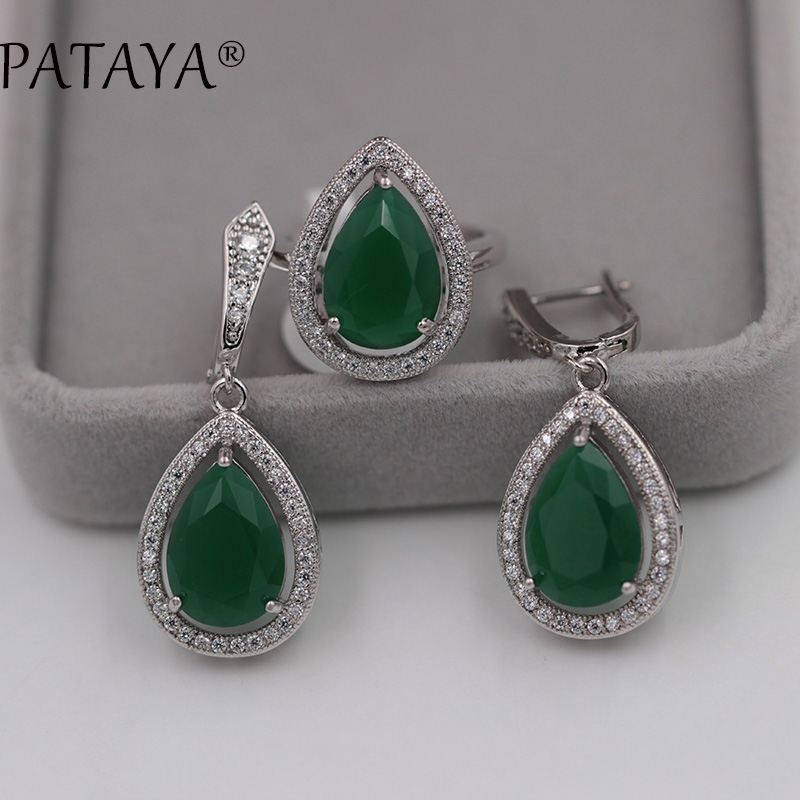 PATAYA True White Gold Jewelry Sets AAA Green Water Drop Natural Zircon Earrings Ring Set Women Romantic Wedding Party Jewelry blucome vintage water drop green crystal jewelry sets for women party accessories turkish bronze color bangle ring earrings set