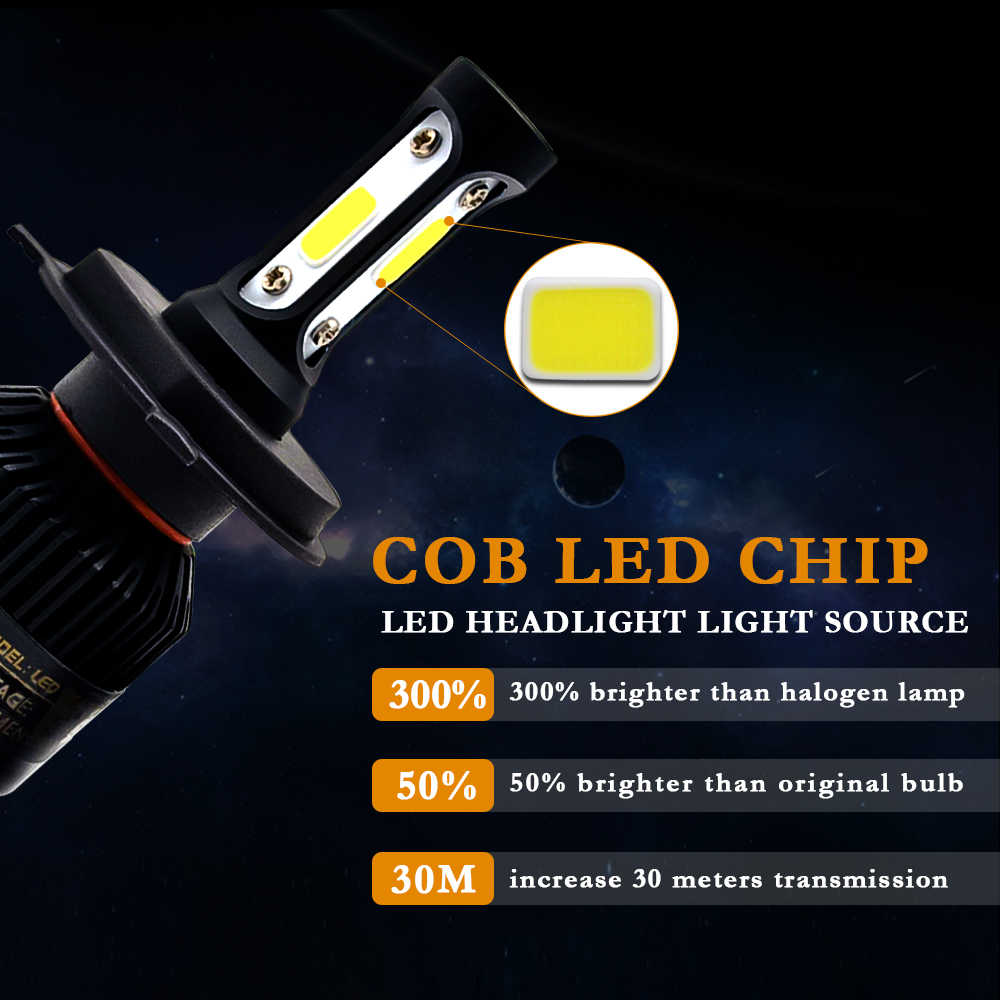 2Pcs H1 LED H11 H7 H4 H3 HB4 HB3 H8 H27 9005 9006 Auto Car Headlight Bulbs 72W 8000LM car light 6000k led automotivo DC12V 24V