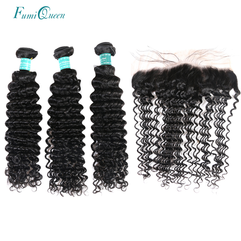 Ali Fumi Queen Hair Product Brazilian Deep Wave Human Hair Weaves Bundles With 13x4 Lace Closure Free/Middle Part Remy Hair ...