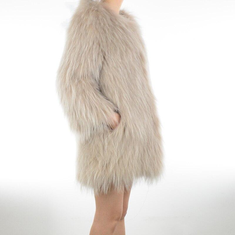 Manteau Manches Pink De bleu Femmes Veste kaki Rf0158 gris pu Mode Naturel Raccon Tricoté Beige Ciel Réel Bracelet light Fourrure RqdFwqg
