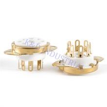 2pcs Octal Vacuum 8Pin Ceramic Gold Plate Tube Socket Chassis Mount EL34 6550 KT88 KT66 6SN7 5U4G 6CA7 6L6 Guiatr Valve Base