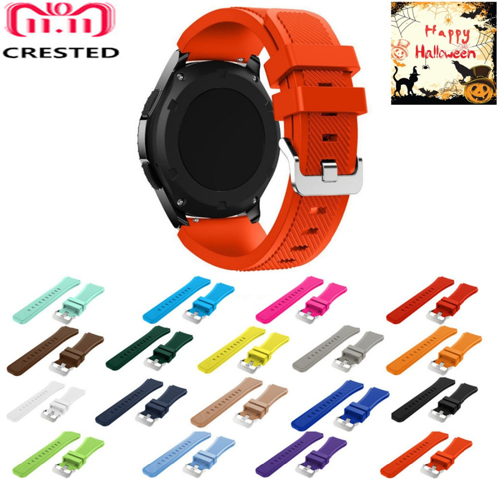 CRESTED Sport Silicone Strap for Samsung Gear S3 S 3 Frontier/Classic band bracelet 22mm 46mm wristband replacement rubber belt joyozy silicone watchband for samsung gear s3 classic frontier 22mm silica gel watch band s 3 sport strap replacement bracelet