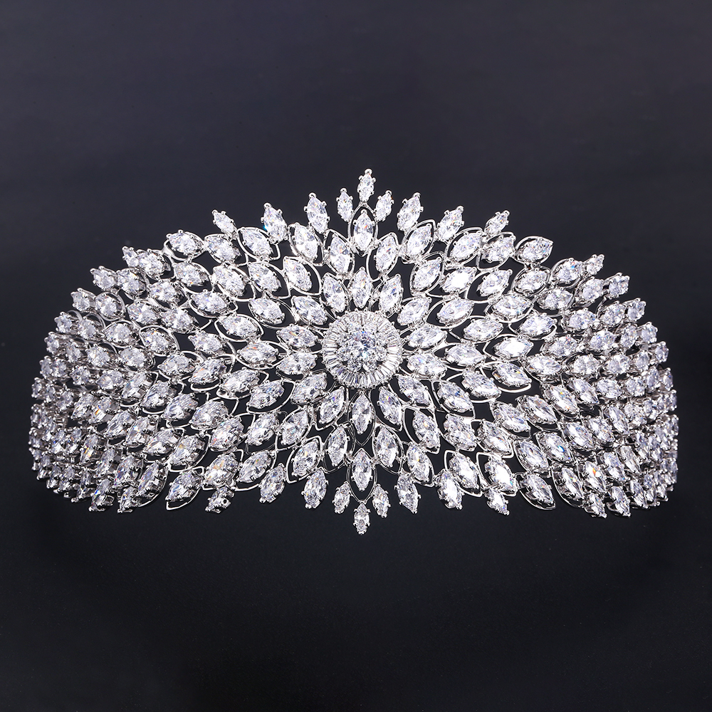 jankelly  Fashion Ladies Wedding Headpieces With cube zircon  Wholesale Bridal Hair Accessories Headdress Bridal Hair Tiaras