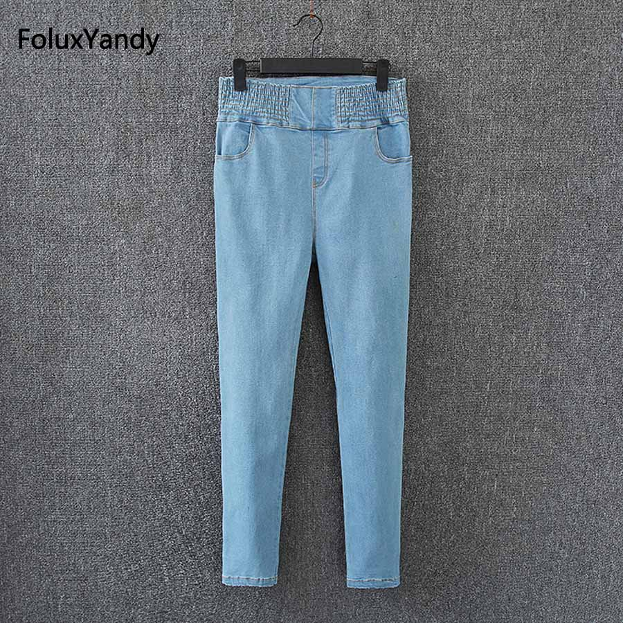 High Waist Jeans Women Plus Size 3 XL Brand New Casual Female Slim Skinny Elasitc Denim Pencil Pants Trousers Blue KK2914 men s cowboy jeans fashion blue jeans pant men plus sizes regular slim fit denim jean pants male high quality brand jeans
