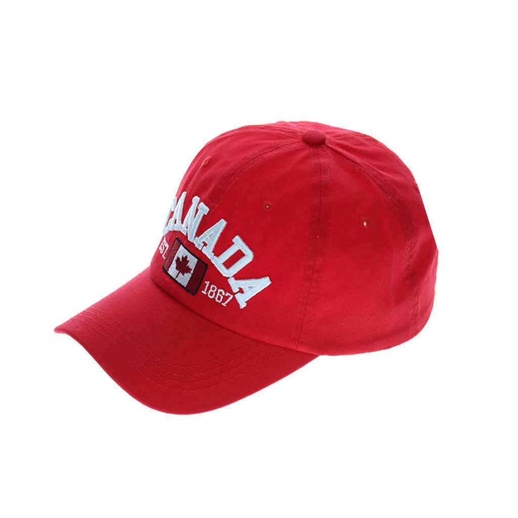 2019 الرجال والنساء كندا العلم رسالة التطريز القطن قبعة بيسبول للجنسين موضة عادية في الهواء الطلق قبعة بيسبول قابل للتعديل