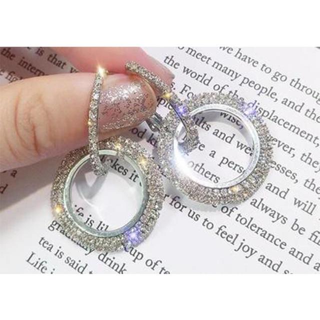 elegant crystal earrings gold silver color metal circle earrings round geometry drop earrings wedding party eardrop for woman 1