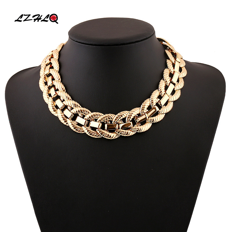 LZHLQ Steampunk Necklace Women Chunky Collares Necklaces & Pendants Jewelry For Gift Women Boho Clavicle Choker Necklace