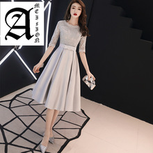 2019 New Spring  summer Tea-Length Evening Dress O-neck Half Sleeve Silver Slim Prom Party Dresses Bow Sashes Haute Couture v neck half sleeve tea length dress