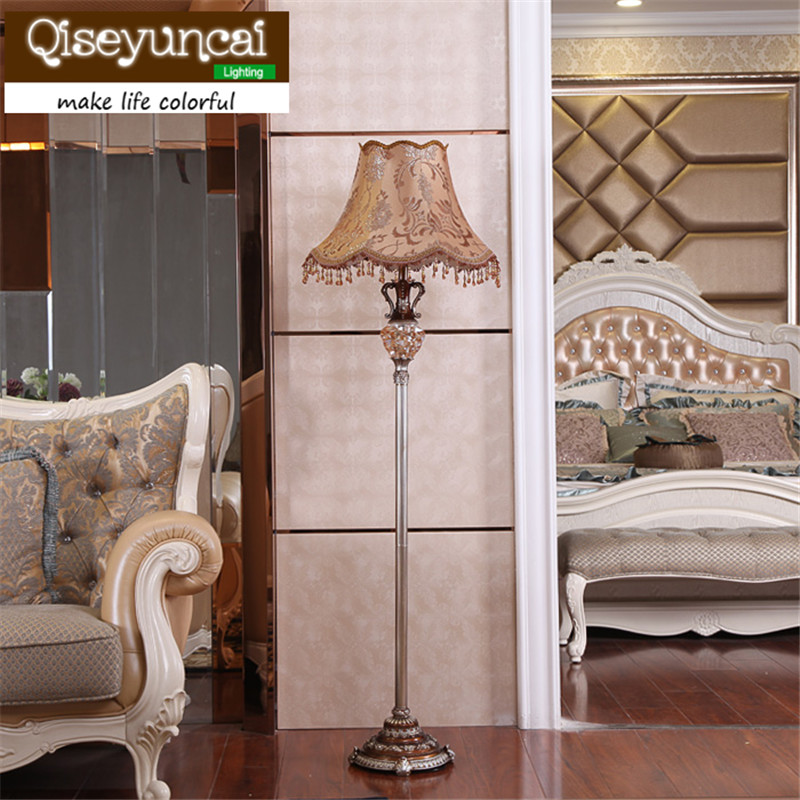Qiseyuncai American retro living room floor lamp creative coffee table vertical study bedroom garden bedside floor lamp