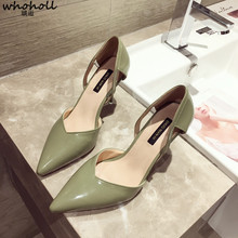 WHOHOLL Leather Women Pumps Shoes Heel Pointed Toe Slip-on Sexy High thin Heels Ladies Shoes Solids Fashion Shallow Women Pumps