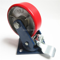 Zhuomiao Caster Super Heavy Duty Shock 5 Inch Plate Swivel Spring Load Caster Wheel With Face