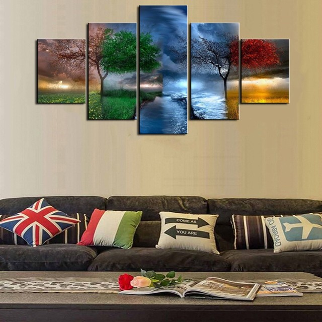 Colorful Tree Canvas Prints 5 Pieces Painting Wall Art Home Decor ...