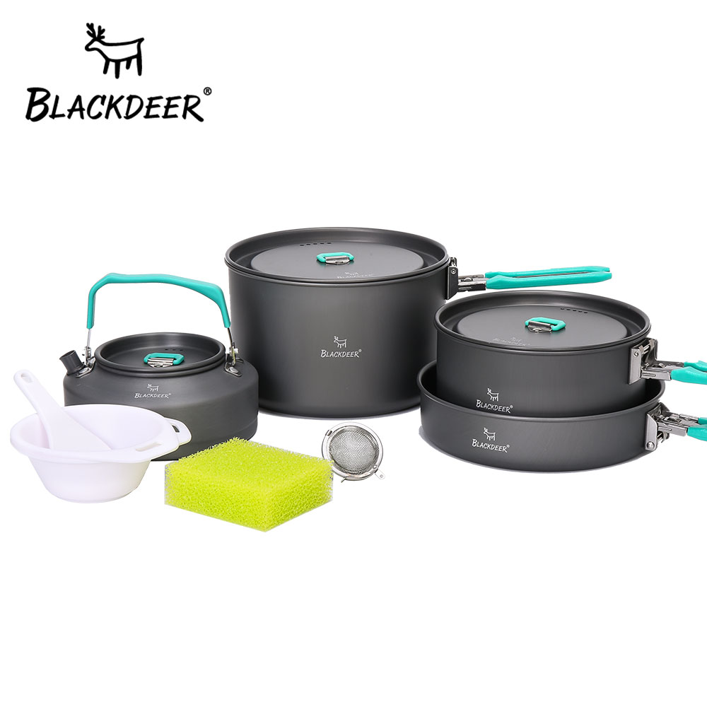 BLACKDEER Acampamento Ao Ar Livre Conjunto de Mesa 2 Mochila Piquenique Pote Frigideira 1 1 Chaleira Alumina Durável Dobrável Panelas Conjunto de Cozinha