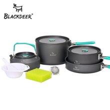 BLACKDEER, juego de vajilla para acampar al aire libre, Backpacking Picnic, 2 ollas, 1 sartén, 1 tetera, utensilio de cocina duradero, juego de cocina plegable