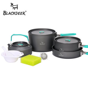 Image 1 - Blackdeer Outdoor Camping Servies Set Backpacken Picknick 2 Pot 1 Koekenpan 1 Ketel Aluminiumoxide Duurzaam Kookgerei Vouwen Koken Set