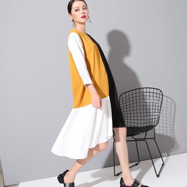 [Soonyour] 2017 новая коллекция весна Лето шею Большой размер мода сплошной цвет сплит совместное желтый dress женщины моды прилив 800280