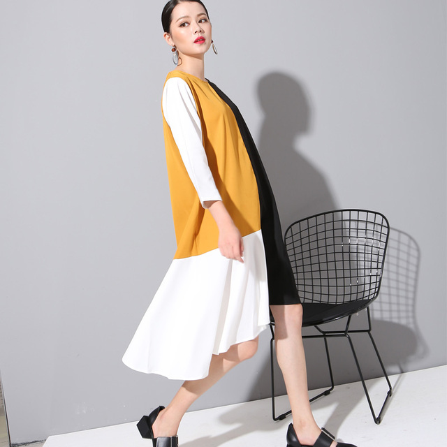 [soonyour] 2017 new spring Summer round neck Large size fashion solid color split joint yellow dress women fashion tide  800280