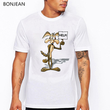 Looney Tunes t shirt men cartoon wolf printed tshirt homme Wiley Coyote top male funny shirts camisetas hombre white tee