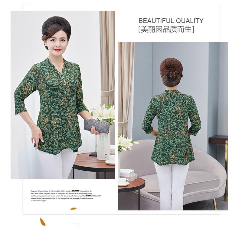 Women Flower Chiffon Blouses Three Quarter Sleeve Crepe Top Woman Peplum Tunic Red Green Print Shirt Plus Size Blouse Lady Shirt Spring (11)